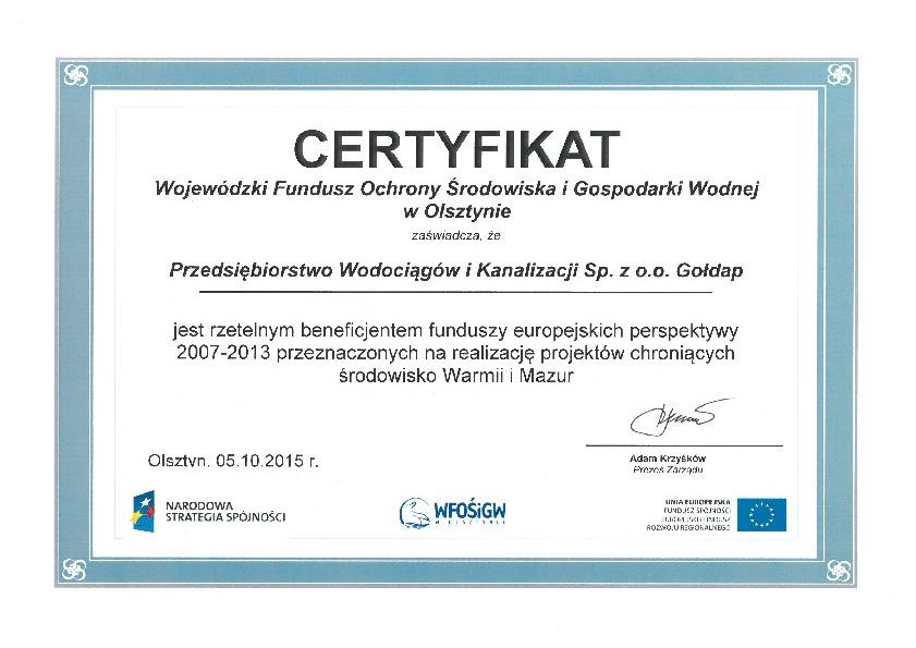 Certyfikat_WFOŚiGW